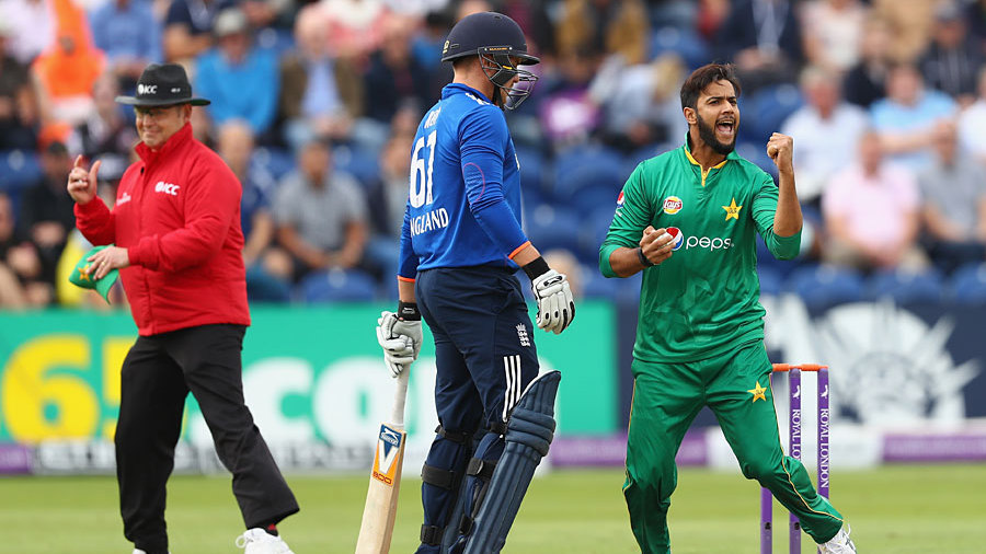 Imad Wasim held a return catch to remove Eoin Morgan