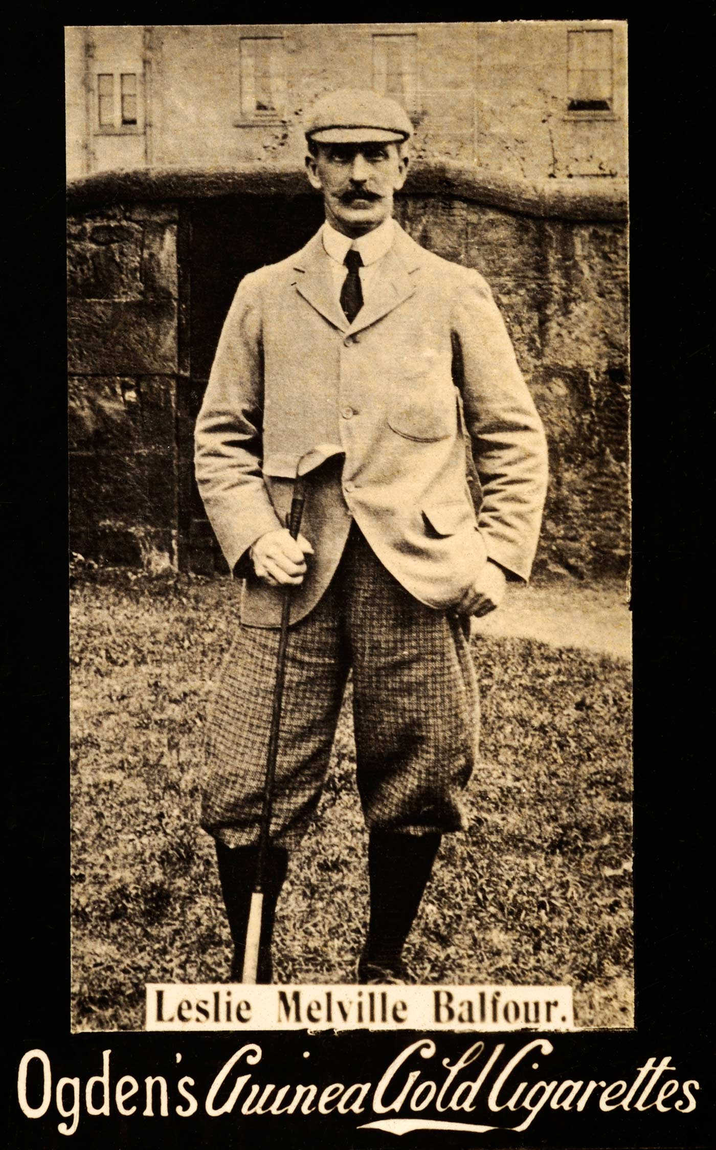 Waxed moustache alert: a vintage cigarette card featuring Scottish amateur Leslie Melville Balfour