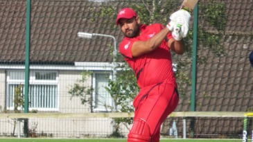 Babar Hayat plays through mid-wicket en route to a 31-ball 49