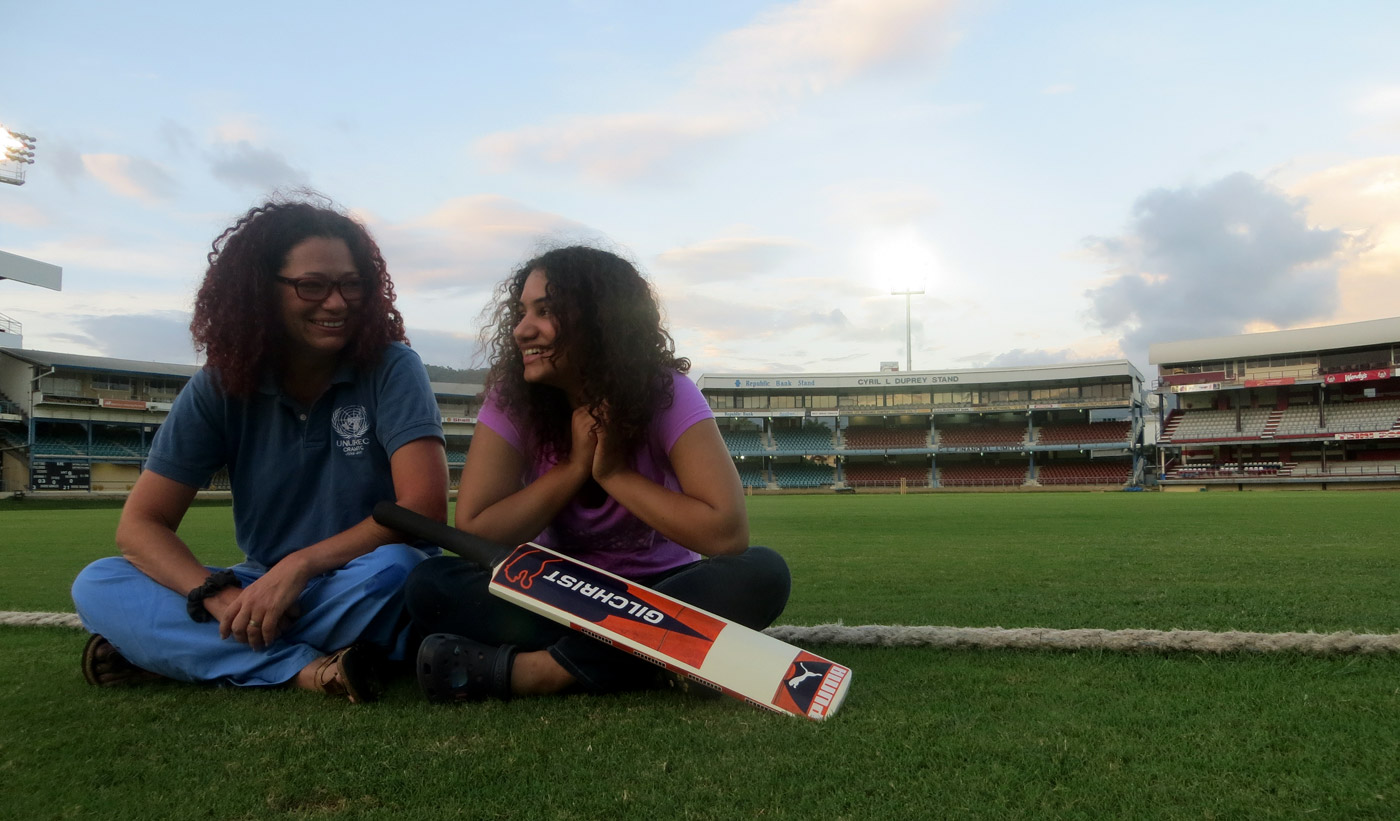 Juliet Solomon with her daughter Jade at Queen's Park Oval