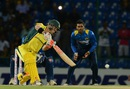 David Warner launches one over the off side, Sri Lanka v Australia, 1st T20I, Pallekele, September 6, 2016