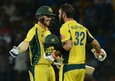 Glenn Maxwell is congratulated by Travis Head after reaching his century, Sri Lanka v Australia, 1st T20I, Pallekele, September 6, 2016