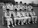 The South African squad playing the tour opener in Worcester. Back row, from left: Denis Lindsay, Athol Rowan, Jack Plimsoll, Lindsay Tuckett, Tufty Mann and Denis Begbie; Front row: Ken Viljoen, Dudley Nourse, Alan Melville (captain), Bruce Mitchell and Dennis Dyer, April 30, 1947