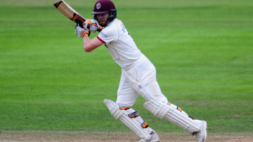 Chris Rogers, Somerset's captain, bats on Taunton's controversial pitch