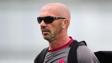 Matthew Maynard looks on as wickets tumble at Taunton