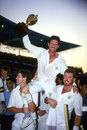 Allan Border holds the World Cup aloft