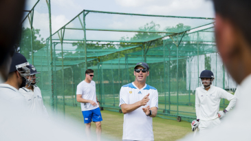 Gary Kirsten speaks at a net session in a training camp for Rajasthan players
