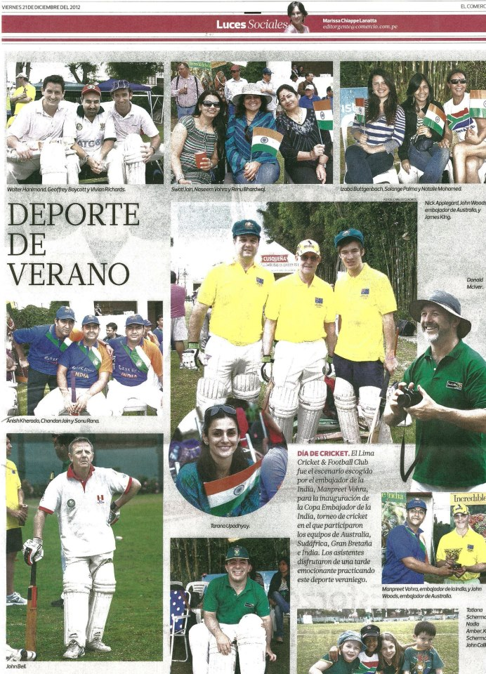 Peruvian newspaper <i>El Comercio</i> reports on the Ambassador Cup in 2012