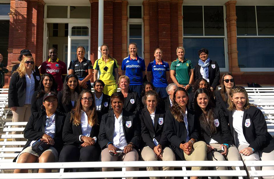 Jade (sitting, second row, second from right) with the CanAm Women's cricket team at Lord's