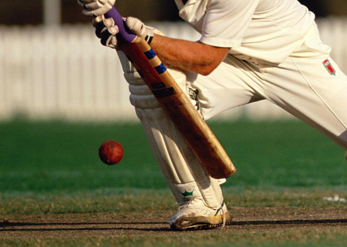 A cricketer bats