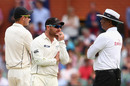 Brendon McCullum and Tim Southee talk to umpire S Ravi, Australia v New Zealand, third Test, day two, Adelaide, November 28, 2015