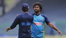 Lasith Malinga is greeted by trainer Dilshan Fonseka, Colombo, September 8, 2016