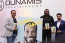 Virender Sehwag, Chris Gayle and Anurag Thakur at the launch of Gayle's autobiography <i>Six Machine</i>, New Delhi, September 9, 2016