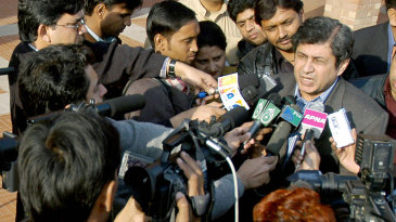 PCB chief selector Wasim Bari speaks to the media after announcing Pakistan's squad for the upcoming tour of India