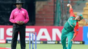 Bangladesh legspinner Rumana Ahmed in her delivery stride