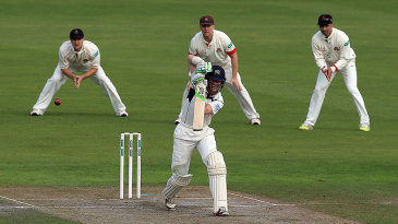 Nick Gubbins drives during his half-century