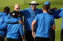 Jason Gillespie talks to Yorkshire's players ahead of his final home match as coach, Yorkshire v Somerset,  Specsavers Division One, 1st day, Headingley, September 12, 2016
