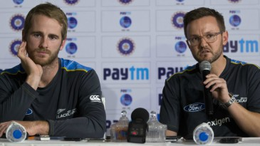 Kane Williamson and Mike Hesson address the media
