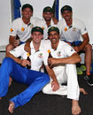 Josh Hazlewood, Nathan Lyon, Mitchell Starc, Mitchell Marsh and Mitchell Johnson relax after the match, Australia v New Zealand, 2nd Test, Perth, 5th day, November 17, 2015