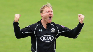 Gareth Batty celebrates as Surrey move to victory