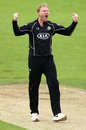 Gareth Batty celebrates as Surrey move to victory, Yorkshire v Surrey, Royal London Cup semi-final, August 28, 2016