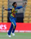 Sugandika Kumari celebrates a wicket, South Africa v Sri Lanka, Women's World T20 2016, Group A, Bangalore, March 28, 2016
