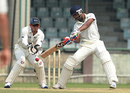 Kaustubh Pawar looks to play a cut, Mumbai v New Zealanders, tour match, 2nd day, Delhi, September 17, 2016