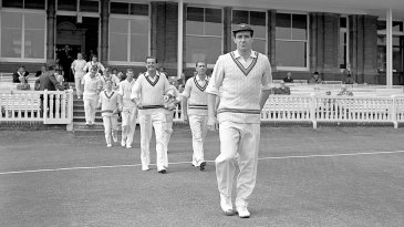 Fred Trueman leads the Players out onto the field