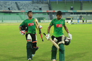 Anamul Haque and Mosaddek Hossain walk back from the nets, Mirpur, September 18, 2016
