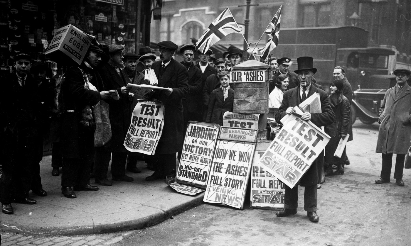 The newspaper salesmen sell newspapers reporting England's victory in the Bodyline Ashes