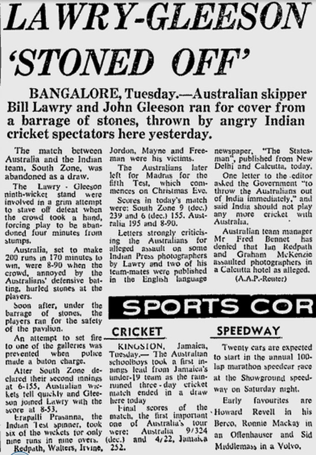 The <i>Sydney Morning Herald</i> reports on the crowd trouble that ended the game in Bangalore
