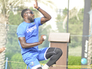 Kesrick Williams enters his delivery stride in the nets, Dubai, September 19, 2016