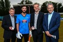 Cricket ACT Chairman Ian McNamee, Jono Dean, ACT Minister for Tourism and Events Andrew Barr and Mike McKenna at the launch of the BBL's ticket sale, Canberra, October 27, 2014