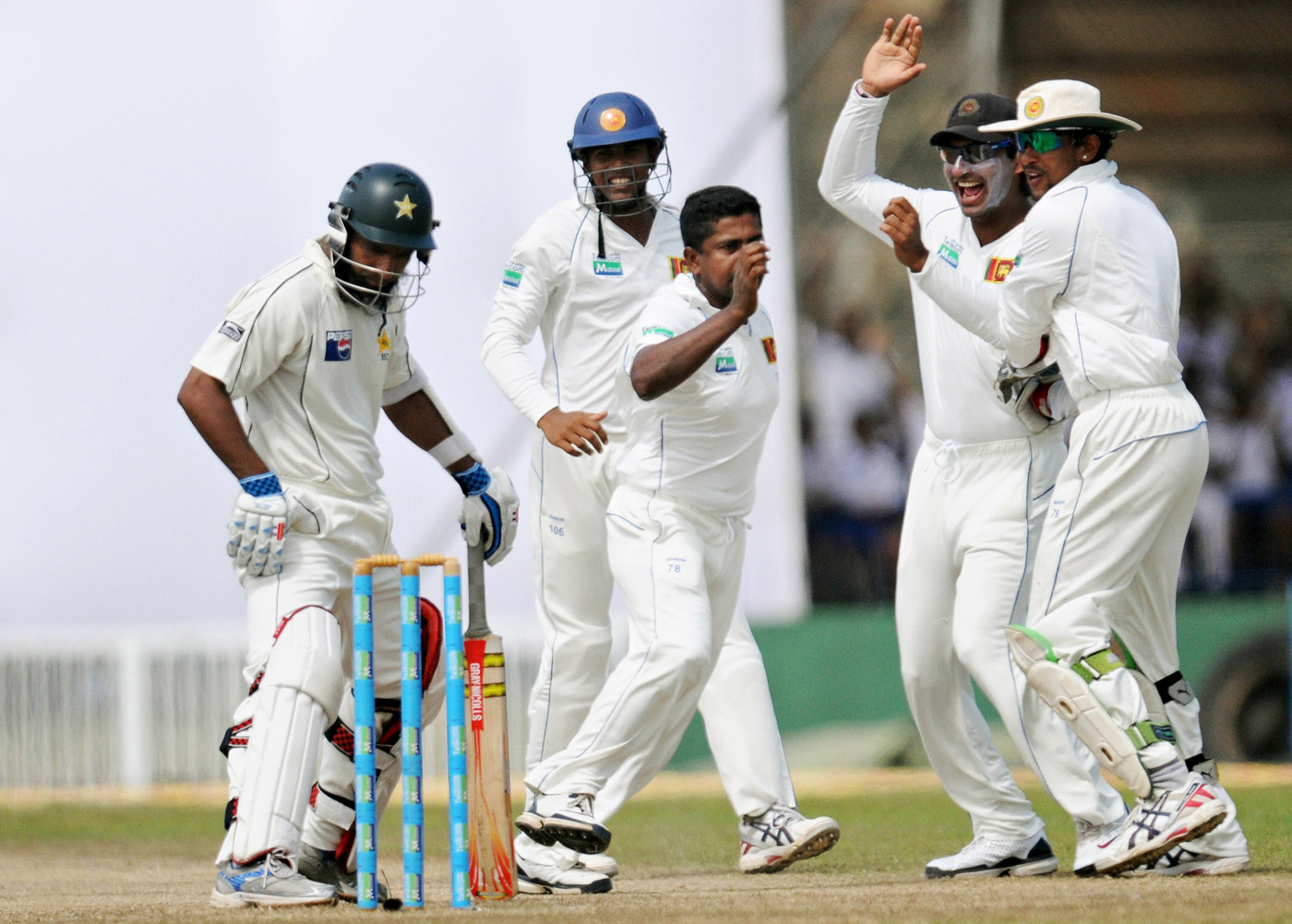 From Stoke to stoked: Herath made a successful return to Test cricket in 2009, taking 4 for 15 in 11.3 overs as Pakistan were bowled out for 117 while chasing 168 in Galle