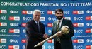 ICC CEO David Richardson presents the Test mace to Misbah-ul-Haq, Lahore, September 21, 2016