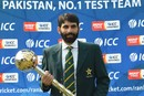 Pakistan captain Misbah-ul-Haq holds the Test mace, Lahore, September 21, 2016