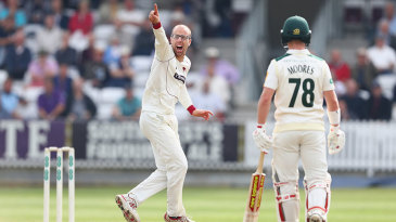 Jack Leach appeals unsuccessfully for the wicket of Jake Libby
