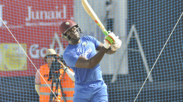 West Indies' T20 captain Carlos Brathwaite at a training session in Dubai
