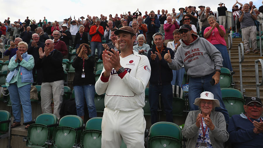 Marcus Trescothick applauds from the Marcus Trescothick Stand