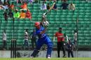 Asghar Stanikzai takes his bottom hand off the bat while driving down the ground, BCB XI v Afghanistan, Fatullah, September 23, 2016