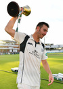 Hat-trick hero: Toby Roland-Jones with the County Championship trophy, Middlesex v Yorkshire, County Championship, Division One, Lord's, September 23, 2016