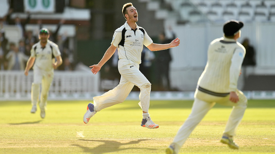 Toby Roland-Jones races off after claiming the final wicket