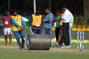 Groundsmen roll the pitch before the start of the third day at Green Park, India v New Zealand, 1st Test, Kanpur, 3rd day, September 24, 2016