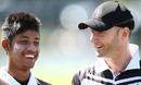 Michael Clarke and Nepal cricketer Sandeep Lamichhane share a reason to smile, Sydney, September 24, 2016