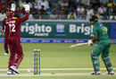 Sharjeel Khan looks back at his disturbed stumps, Pakistan v West Indies, 2nd T20I, Dubai, September 24, 2016