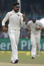 Ravindra Jadeja pumps his fist after a wicket, India v New Zealand, 1st Test, Kanpur, 3rd day, September 24, 2016