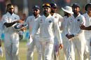 Virat Kohli leads his team off after a strong day for India, India v New Zealand, 1st Test, Kanpur, 4th day, September 25, 2016
