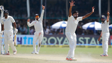 R Ashwin appeals unsuccessfully for the wicket of Ish Sodhi