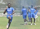 Alzarri Joseph prepares to deliver the ball during West Indies' training session, Dubai, September 26, 2016