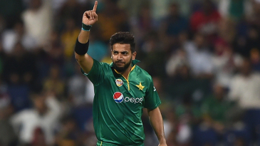 Imad Wasim celebrates after taking a wicket